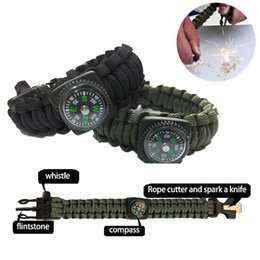 Hot New Wholesale Paracord Survival Bracelet Compass Flint Fire Starter Whistle Camping Gear Kit Survival Bracelets