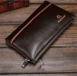 Wholesale leather bean bag chair Cattle Split Leather Men Long Wallet Patent Leather Man Clutch Bag Solid Man Wallet Leather with Coin Pocket WHB122