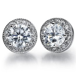 AAA+ Cubic Zirconia Woman Earrings Classical Black White Round Platinum Plated Women Jewelry Studs
