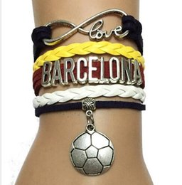 Wholesale Different Drop Shipping Infinity Love Barcelona Sports Charm Bracelet Customized Different Countries World Cup Team Gift DIY woven jelwery