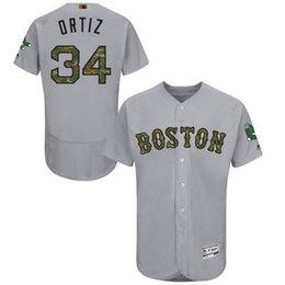 Wholesale Custom Mens Boston Red Sox David Ortiz Gray Camo Font Fashion Memorial Day Flex Base Baseball Jersey