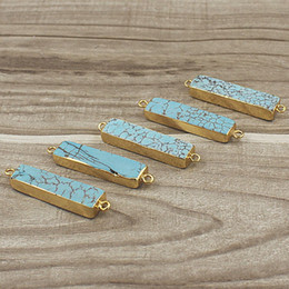 Natural Rectangle Turquoise Connector Pendant with Double Bail Gold Edged Plated, Blue Turquoise Bar Connectors Jewelry JF18_03