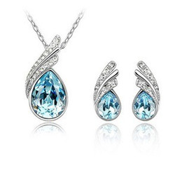 Crystal Statement Wedding Anniversary Gift Fashion Necklace Earring Sets Full Rhinestone Blue Rose Red Diamond Water Drop Pendant Jewelry