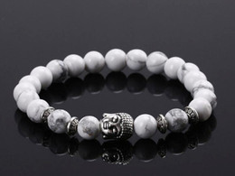 Wholesale 2016 Fashion vintage lava stone natural agate stone Buddha head bracelet jewelry Antique Silver Buddha male and female models