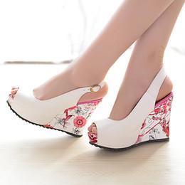 beautiful fashion Sexy new wedge sandals shoes women high heels shoes open toe platform buckle women summer shoes 4 colors big size 35-41