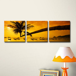 Landscape Painting Canvas Prints Picture 3-panel Tropical Palm Tree Sunset Peace Giclee Canvas Art For Home Decor