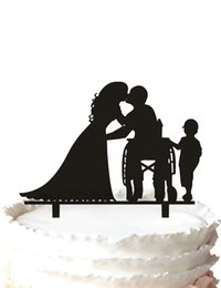 Wholesale Anniversary Wedding Cake Topper Silhouette Groom and Bride Disability Wheelchair Acrylic Cake Topper Kid Cake topper