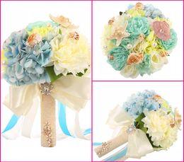 Wholesale 2016 New Beach Wedding Flowers Blue Sheels Bouquet Silk Flowers Bridal Bridesmaid Flowers WF050MB OC Hot Sale Summer