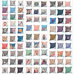 Cushion Cover Multitypes Creative pillow cover owl buckhorn cartoon tough girl stripe cushion cover for sofa office bed