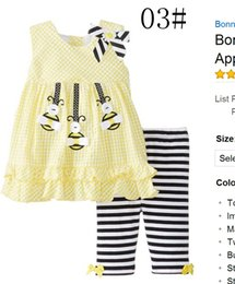 Wholesale 2016 rare editions Summer Autumn Toddler girls Piece Ruffled skirt dress kegging set M T Girls Owl Flower Print Yellow Bee pc set