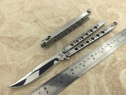 Wholesale The one BM43 butterfly knife Balisong Bowie Polish mirror C Steel Handle Spring latch