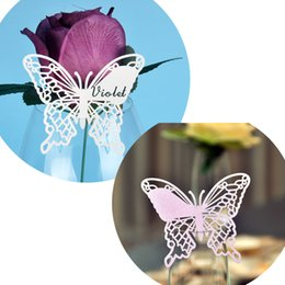 Laser Cut Butterfly Table Mark Escort Wine Glass Name Place Cards for Wedding Event Decoration Baby Shower Favor Birthday Party Supplies