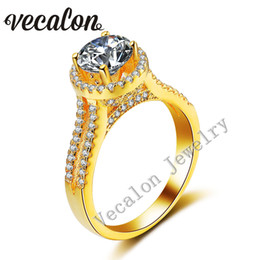 Vecalon Yellow gold Crown wedding ring for women Round 3ct Simulated diamond Cz 925 Sterling Silver Female Engagement Band ring