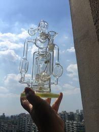 2016 crdp de verre De haute qualité en verre vert Bongs 2 bras Hourglass Percs huile épaisse recycleur tube truque Pipes Bongs Beaker Bowl Oil Rigs eau narguilés budget crdp de verre