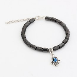 Wholesale Hot New men and women fashions fashions Hamsa Hand Black Magnetic Hematite Faceted Beads Metals Alloy Loose Bead Beaded bracelets