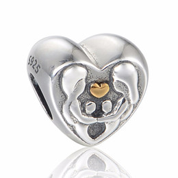 HEART OF THE FAMILY 14K HEART 100% 925 Sterling Silver Beads Fit Pandora Charms Bracelet Authentic DIY Fashion Jewelry