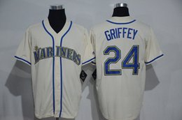 Wholesale Men s Seattle Mariners Ken Griffey Jr Cream Baseball Jerseys Cool Base Jersey Discount Baseball Wear Stitched Athletic Apparel for Sale