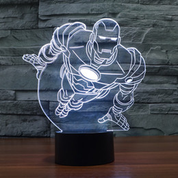 2017 New Hot Iron Man 3D Optical Lamp Night Light Decoration Lamp Gift DC 5V USB Charging