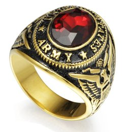 Retro Vintage Gold Plated Size 7-15 Stainless Steel Army Military Ring Red Ruby Crystal Gemstone Signet Cocktail School Memorial