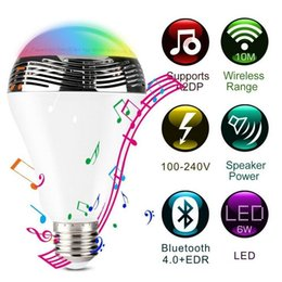 Wholesale 2016 smart colorful LED bulb with bluetooth speaker combine with RGB LED stereo audio speaker best seller in DIY