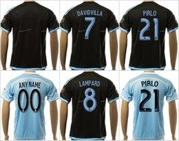 Wholesale Soccer New York City Jerseys Thai Andrea Pirlo David Villa Frank Lampard Football Shirt MIX NYCFC Team Color Black Blue