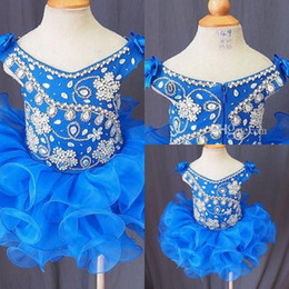 Royal Blue Girl's Pageant Dresses Flower Rhinestones Crystals Ball Gowns Infant Toddler Party Cupcake Skirt for Kids 2015 luxury