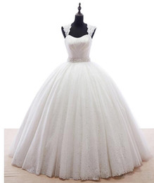 2016 Sexy Lace Crystal Beading Wedding Dresses Plus Size Capped Sleeve Bridal Gowns Floor length Real Image Ball Gown