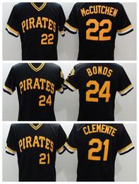 Wholesale Cheap Baseball Uniform - Pirates #24 Bonds Baseball Jerseys #22 McCutchen Baseball Shirts #21 Clemente Baseball Uniform Men Baseball Shirts for Cheap Sale