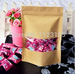 Wholesale 100 X Brown Stand up Zip Lock Pouch with window Clear display Resealable Kraft Paper bag X20 cm Grip Self Seal Packaging
