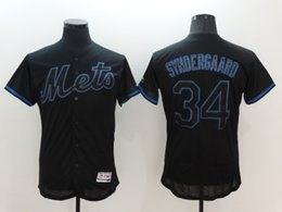 Wholesale New Mens New York Mets Jersey Noah Syndergaard Black with Blue Shadow Flexbase Collection Baseball Jersey Name Number All Stitched Best Q