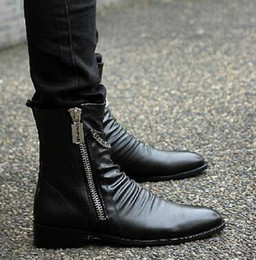 2016 New High Help Men Leather Boots England Retro Men Boots Martin Cowboy Boots Leisure Leather Shoes Zipper
