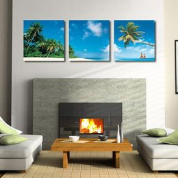 Wholesale Home decoration unframed Pieces Canvas Prints Seaside scenery coconut tree sandy beach Abstract flowers natural scene crane