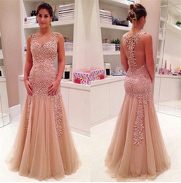 Sweetheart champagne color appliques prom dress mermaid tulle elegant sexy design back evening party dresses for women