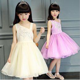 2-12yrs 2016 kids Girl vest Oblique summer Dresses Infant Party Princess TUTU Dresses,Girls Party kids dress children dress