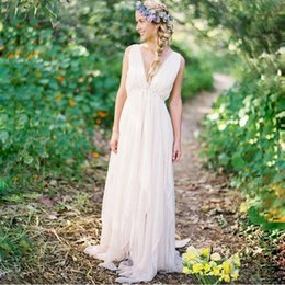 Summer Elegant Casual Beach Wedding Dresses Backless Deep V Neck Sleeveless Pleated Chiffon ;Long Bridal Gowns Custom Made