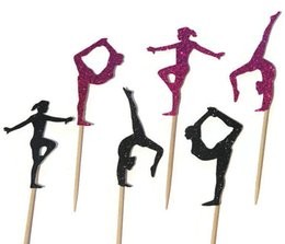 Wholesale gymnastics Silhouette Cupcake Toppers sports event Party Picks baby shower wedding birthday toothpicks decor