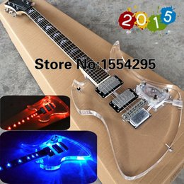 Wholesale Top Factory Custom Acrylic Ferna ndes MG S Electric guitar Fingerboard Transparent Body with LED