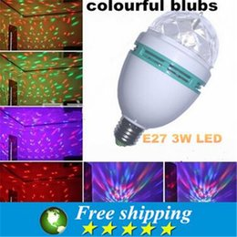 Wholesale MINI LED bulbs can be rotated colorful V W E27 Magic Crystal Ball Mini Laser Lights Ambient Lighting KTV Party application Lamp