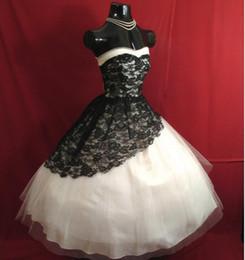 Wholesale Vintage Tea Length Prom Dresses Strapless Black Lace White Arabic India Ball Gown Evening Formal Wear Vestido De Festa Real Picture