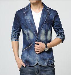 Men's Casual Slim Fit manches longues One Button Denim Suits Blazer Coat Jacket Tops à partir de mince vestes en denim ajustement fabricateur