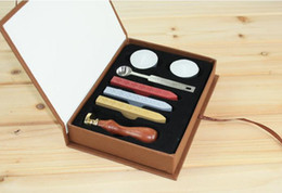 Wholesale-New Stamp with gift Box,Retro Sealing Wax Stamp with handel,Spoon,Wax Stick, White Wax,Deluxe Gift set 26 alphets+Greeting words
