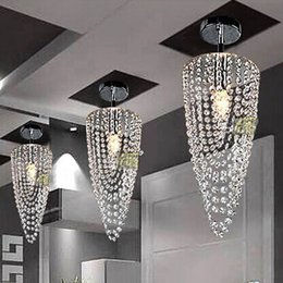 Wholesale LED light Chrome K9 Modern crystal chandelier lighting D17 H45cm V V Transparent color Crystal Ceiling Light For Living Room