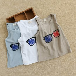 Wholesale 2016 summer boys girls glass vest baby children Mr Dyer bamboo cotton tops tees tshirt t shirt colors choose free ship