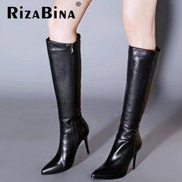 Longue en cuir femmes boot à vendre-Dames véritable talon haut en cuir véritable au-dessus des bottes de genou femmes bottes long hiver bottes marque chaussures talons chaussures R7355 taille 34-39