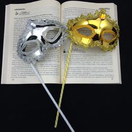New Gold Silver Party Masks on stick Half Face Luxury Diamond Sexy Eyeline Woman Mask Mardi Gras Costume Wedding Gift free shipping
