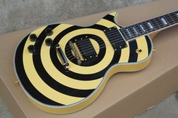 Left Handed Factory Price Custom Shop 6 Strings EMG pick-up Zakk Wylde Bullseye Yellow Black Circle Electric Guitar Free shipping