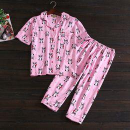 Wholesale Satin Nightdress Set - Cute dog nightdress Summer women cotton Satin Pajamas Set Pyjamas Set Sleepwear two-pieces big size v neck breathable wholesale 2sets BY14