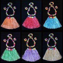 Wholesale Children Hawaiian grass skirt Kid Skirt Hula Lei Skirt Flower Wristband Garland Fancy Costume Grass skirts wreath drop shipping