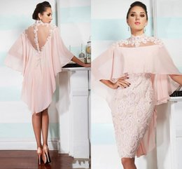 Sexy Mother off bride dresses 2018 High Neck Pink Chiffon Lace Applique Beaded With Cape Custom Sheer Back Wedding Plus Size Mothers Dress
