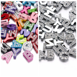 New Arrvials Wholesale 8mm size A-Z Slide Rhinestone letters DIY slide accessories charms for DIY bracelets belts